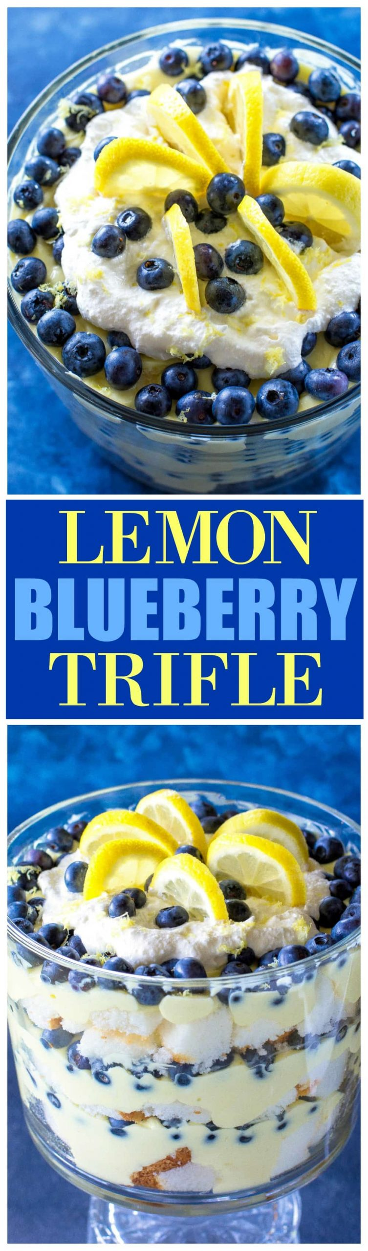 This Lemon Blueberry Trifle is layers of angel food cake, lemon pudding, and blueberries. A crowd pleasing dessert! #blueberry #lemon #trifle #dessert #recipe