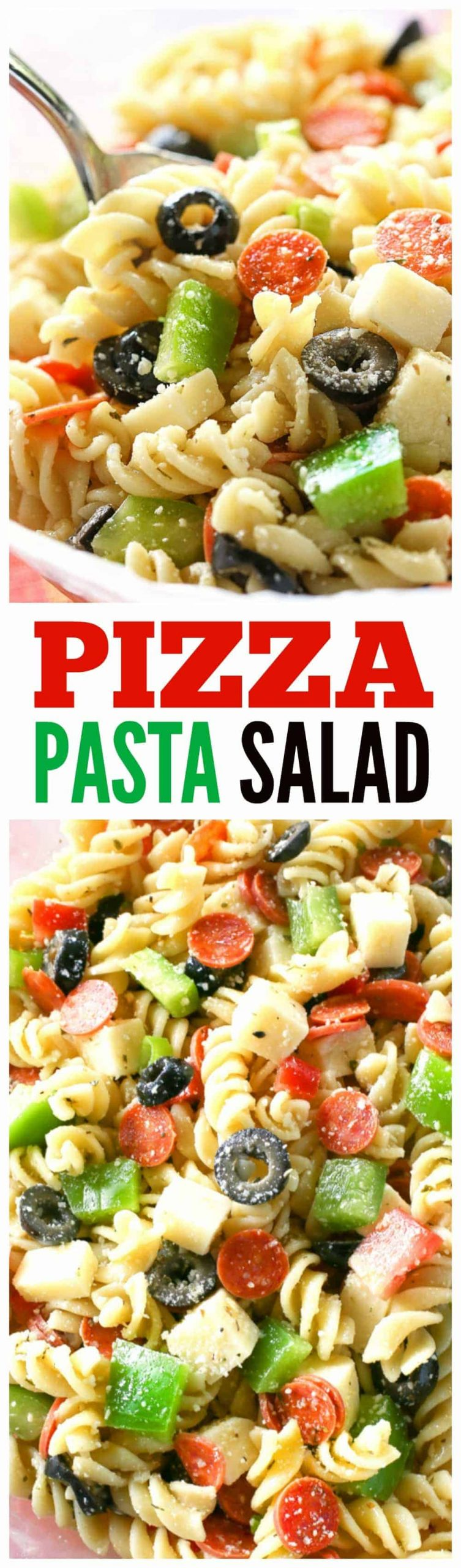 Pizza Pasta Salad has all the flavors of a delicious pizza in a pasta salad.Mini pepperonis, olives, green bell pepper, cubes of cheese, tomato - all tossed in a vinaigrette. A potluck favorite! #pizza #pasta #salad #potluck #bbq #sidedish