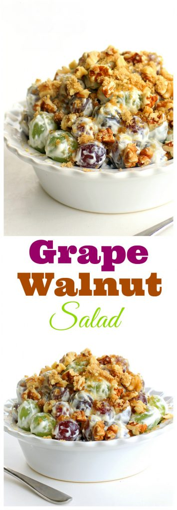This Grape Salad is a unique fruit salad that is always a crowd pleaser and great for potlucks! Red and green grapes with brown sugar, pecans or walnuts, cream cheese, and sour cream. #potluck #side #grape #salad #fruit
