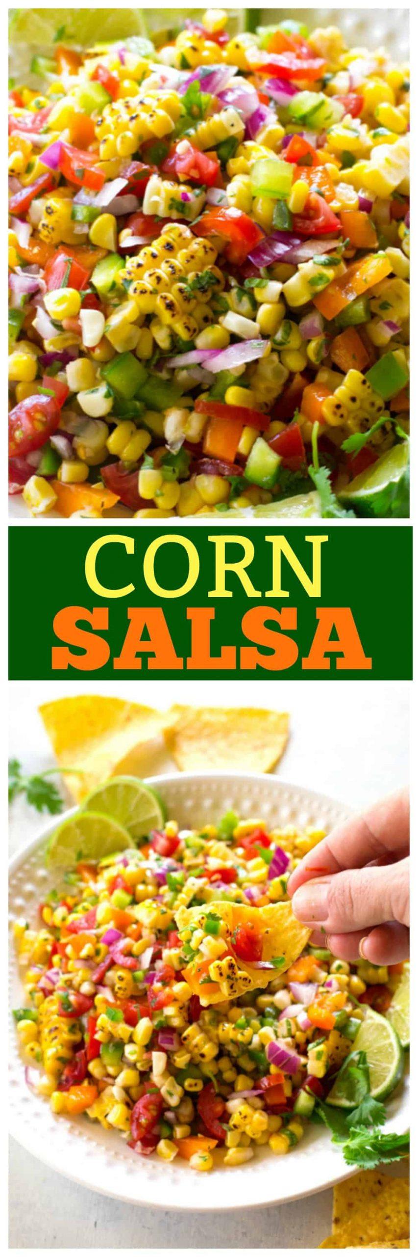Corn Salsa on a chip