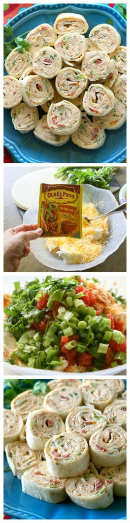 These Chicken Enchilada Roll Ups are a great appetizer for parties! Easy to make ahead and easy to serve. #chicken #enchilada #appetizer #easy #recipe