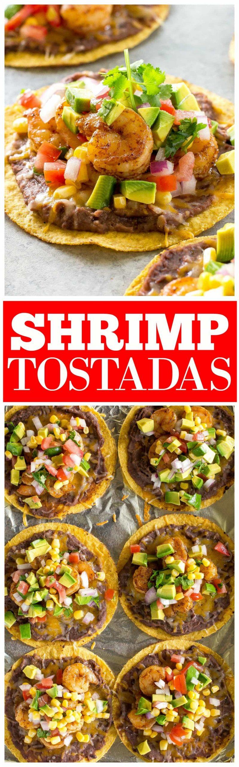 Shrimp Tostadas with black beans, avocado, onions, tomatoes, and cilantro. #shrimp #tostadas #recipe #mexican #dinner