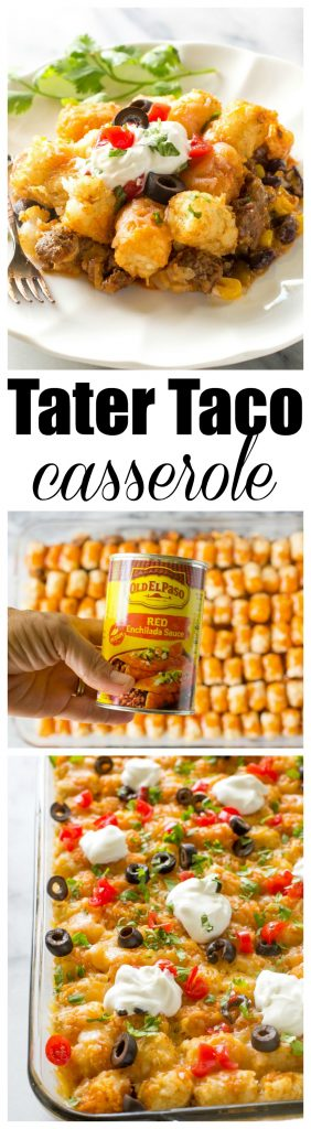 Tater Taco Casserole - A Mexican mixture of taco meat, beans, corn, and cheese topped with tater tots and enchilada sauce. #taco #tater #tot #casserole #dinner