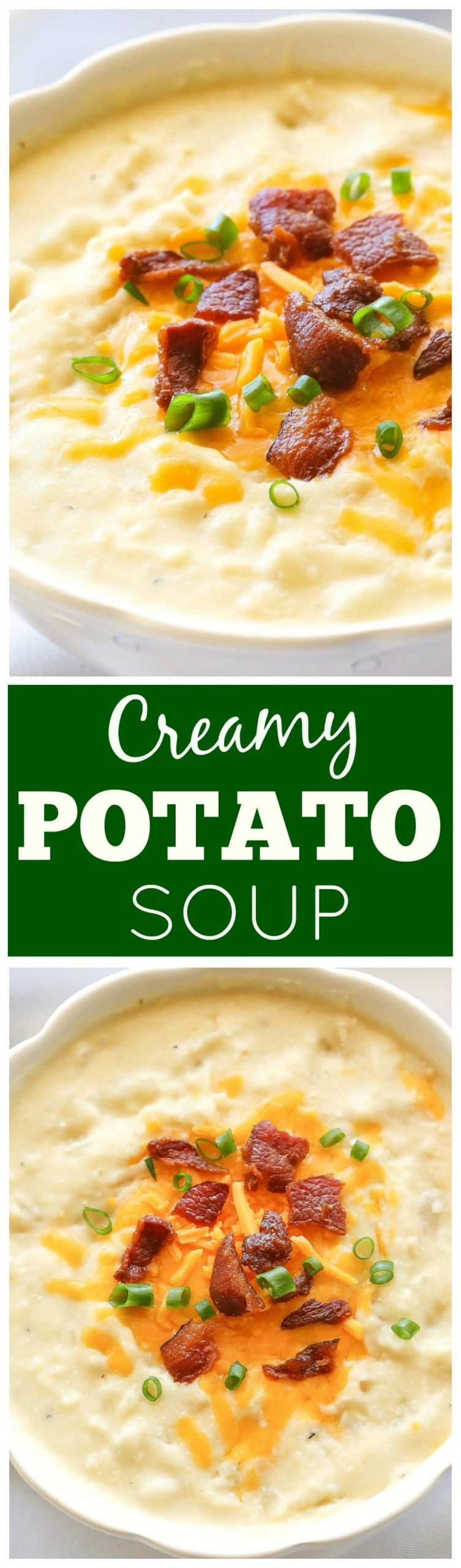 Crockpot Potato Soup - a slow cooker soup that is so easy! Top with bacon, cheese, and green onions for the ultimate potato soup. #slowcooker #crockpot #potato #soup #recipe #easy #dinner