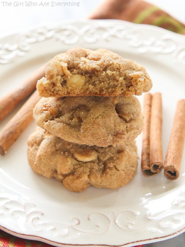 Appledoodle Cookies - An apple version of a snickerdoodle with small pieces of apple and a soft and chewy inside. the-girl-who-ate-everything.com